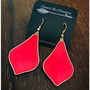 Jewelry - Gold & Red Statement Drop Earrings